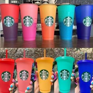 Starbucks 5 Color Changing Cups W/ Lid+Straws